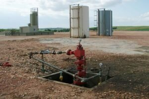 A wellhead after fracking.