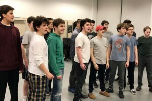 Cast members from WHS Company rehearse songs from South Pacific, their spring musical slated for March 23-25. — Matthew Figliola photo