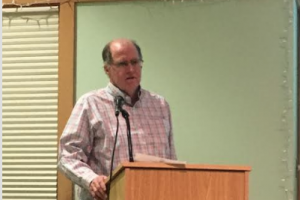 Rich Regan, chairman of the Water Pollution Control Committee, spoke Monday night, Feb. 13, at a Special Town Meeting in Redding, about the upgrades that the plant needs. — Lara Schuler, photo