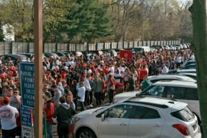 More than 1,300 people walked on Fairfield's Post Road last Saturday for CFJ's Walk a Mile in Her Shoes —Donovan Doughty for The Center for Family Justice.