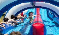 Ridgefield Academy's 15-foot water slide, The Patriot Plunge, is a highlight for campers.